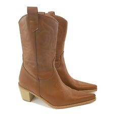 Dune Brown Leather Ankle Pull On Cowboy Western Boho Hippies Boots Size 38 Uk5