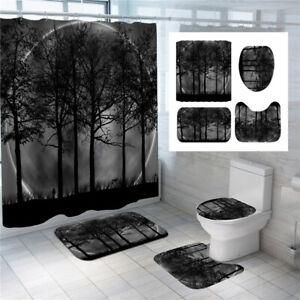 3D Tree Sun Circle Shower Curtain Set Bath Mat Toilet Cover Rug Bathroom Decor