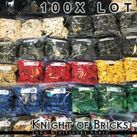 LEGO 100x Lot Pieces Random Bulk Black Gray White Blue Yellow Tan Free Shipping