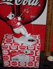 Coca - Cola Ceramic Polar Bear Figurine W/ Box Ice Fishing Excellent Condition