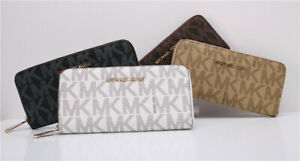 NWT Michael Kors MK Signature Jet Set Continental Zip-Around Leather Wallet
