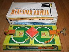 VINTAGE USSR 1960's TINPLATE CLOCKWORK TOY TRAIN STATION RUSSIAN ORGINAL BOXED
