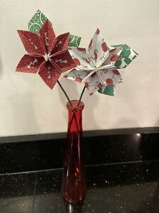 2 Handmade Poinsettia Origami Flowers In Red Glass Vase, Christmas Decoration