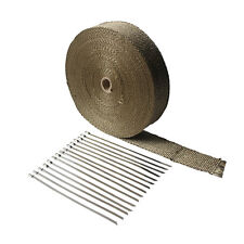 """Titanium Exhaust Heat Wrap 2""""x 100' For Car & Motorcycle Exhaust Tape Cable ties"""