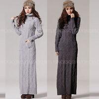 Turtleneck Chunky Knit Wool Blend Pullover Winter Warm Women Sweater Dress