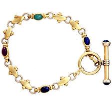 Ruby, Emerald & Sapphire 14K Gold Bracelet
