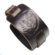 Punk/ Rock/Gothic/Biker Vintage Double Width Brown Leather Belt Bracelet