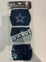 DALLAS COWBOYS 3 PACK FACE MASK COVERS - REUSABLE WASHABLE W/ COTTON LINING