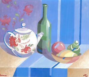 original painting 29,5х34,5 cm 14MAn art samovar Gouache still life stylization