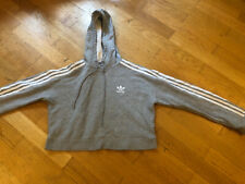 Grey Adidas Cropped Hoodie - Size uk 6