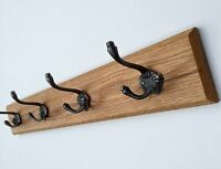100cm 10 Hooks Element Wooden Designs Antique Coat Rack Industrial Cast Iron Hooks Solid Light Oak Wood Vintage Wall Mounted