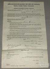 Orig. 1930-31 E.C.H.A. M. Montmarquette Signed Contract