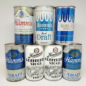 Lot Of 7 Hamm's 12oz Beer Cans Steel And Aluminum