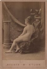 NUDE woman  Cabinet card albumen studio  original early 1890s (2)