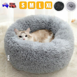Pet Cat Dog Anti-anxiety Bed Warm Soft Plush Round Comfy Sleeping Kennel Cave OZ