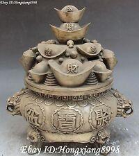 Chinese Silver Wleath Money Yuanbao Lion Head Treasure Bowl Cornucopia Statue