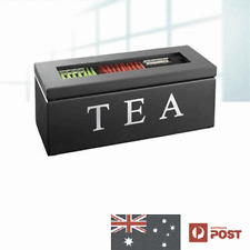 Wooden Tea Storage Box with 3 Compartments Black NEW IN BOX HOME DECOR GIFT