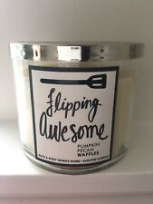 """Bath and Body Works 3 Wick Candle PUMPKIN Pecan Gaufres """"retournement Awesome"""""""