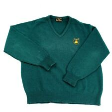 Vintage Mens Glenfiddich Distillery Scotland Sweater Large Green Wool Logo