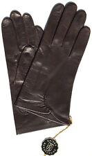 Handschuhe Leder Damen Kaiser Finger ohne Futter Raffung Dk.Braun 6,5 Edel