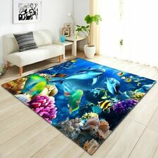 3D Bottomless Hole Shaggy Carpet Anti-Skid Rug Home Living Room Floor Mat RS