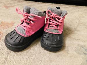 Nike Woodside Winter Boots High Toddlers Pink Foil Black Grey 524878-600 sz 4