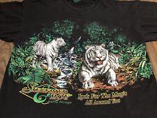 Vintage 1994 Sigfried & Roy White Tigers XL Black T Shirt 90s Magic Show