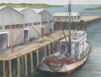 ALICE SCHAEFFER (AMERICAN, 20TH C.) BOAT TIED TO DOCK HARBOR SCENE WATERCOLOR