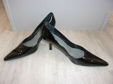 Used Worn Black Patent Nine West Pointy Toe Pumps Heels Court Shoes Size 6.5
