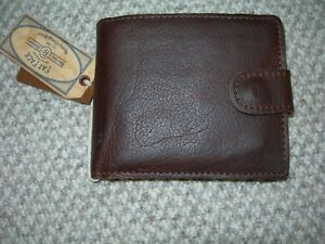 New Mens Fatface Raw Edge Dark Brown Leather Wallet