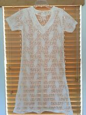New Women's White See Through Lace V-Neck Short Sleeve A-Line Skirt Dress XS S M