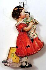LITTLE GIRL w/ CHINA DOLL, BOOK, TEA SET * Glitter CHRISTMAS ORNAMENT * Vtg Img