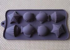 Cake Mold Soap Mold 8-Sea Shell Fish Flexible Silicone Mould For Candy Chocolate