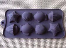 Molde De Torta Molde De jabón 8-Sea Shell peces Flexible de Silicona Molde para Dulces y Chocolates