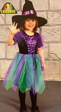 Girls Halloween Witch Costume Dress And Hat Fancy Dress Outfit Age 4 5 6 7 Years