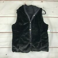 Charter Club Faux Fur Snap Front Womens Size Large Black Hooded Reversible Vest
