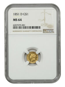 1851-D G$1 NGC MS64 - Tough Dahlonega Issue - 1 Gold Coin