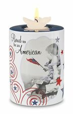 """Candidly LOL 4"""" Tall Tea Light Candle Holder w Candle """"Proud to be an American"""""""
