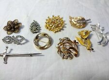 Lotto 10 spille vintage strass perle filigrana metallo