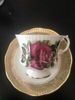 Vintage Rosina English Fine Bone China Tea Cup & Saucer English Roses Est.1875
