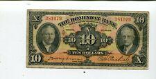 New listing Canada Dominion Bank 10 Dollars 1935 F/Vf Nr 40.00