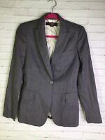 Stella McCartney Womens Size 4 38 Gray One Button Pointed Lapel Blazer Lana Wool