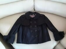 JUICY COUTURE Womens Black Cropped Double-Breasted Jacket Coat S