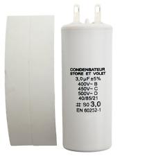 Condensateur de 3 µF (3 uF) pour moteur SOMFY ou SIMU de volet roulant ou store