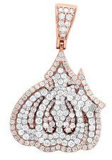 "Unisex Real Diamond Allah Pendant 10K Two Tone Rose White Gold Charm 1.5"" 2.5CT"