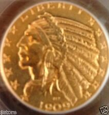 BU 1909-D $5 Indian Head Gold Half Eagle  A VERY NICE COIN