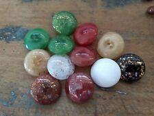 ♥Nr.48-Tolle alte Glasknöpfe bunter Mix mit Goldglitzer DM 22 mm 13 St♥