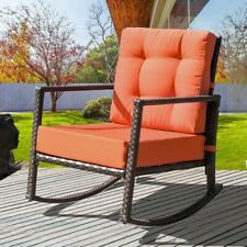 Merax Cushioned Rattan Rocker Armchair Outdoor Patio Wicker Rocking Chair