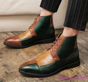 New Mens Fashion Patchwork Lace Up Formal British Oxford Dress Shoes Ankle Boots