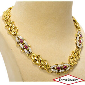 TIFFANY & CO Diamond 6.00ct Ruby 18K Gold Wide Link Necklace 168.0 Grams NR
